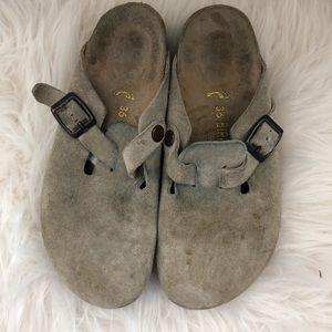 Birkenstock Grey Suede Clogs